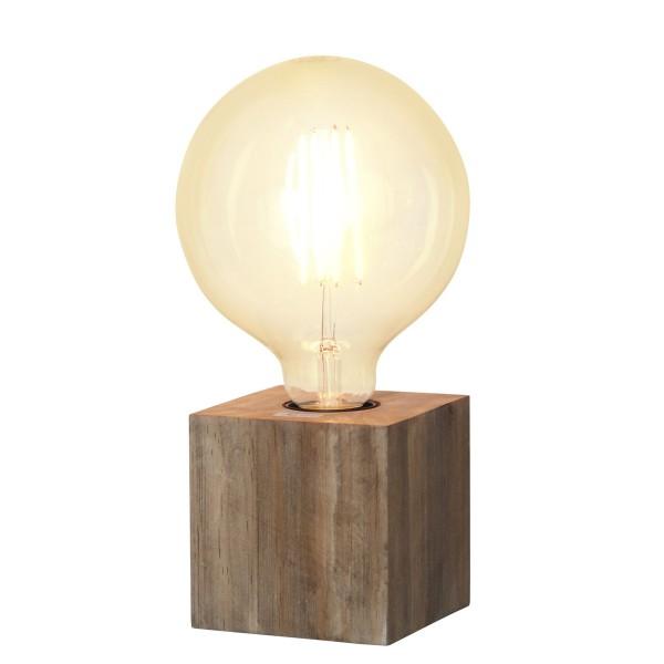 Lampenhalterung KUB - Tischleuchte - E27 - H: 9cm - stehend - Kabel mit Schalter - Holz - braun