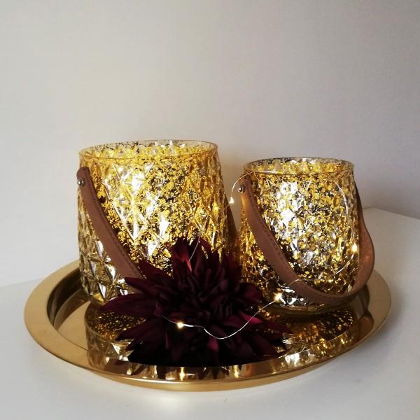Set aus 2 Windlichtern - goldenes Glas  mit 2 warmweißen LED Lichterketten - Timer - goldfarben