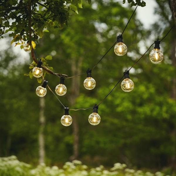 "LED Lichterkette ""CIRCUS"" - 10 Kugeln, D: 8cm - warmweiße Filament LED - 4,5m - inkl.Trafo - outdoor"
