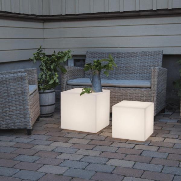 Würfel Tisch 38cm - E27 Fassung - max 23W - 5m Zuleitung - Indoor & Outdoor - Gartenleuchte