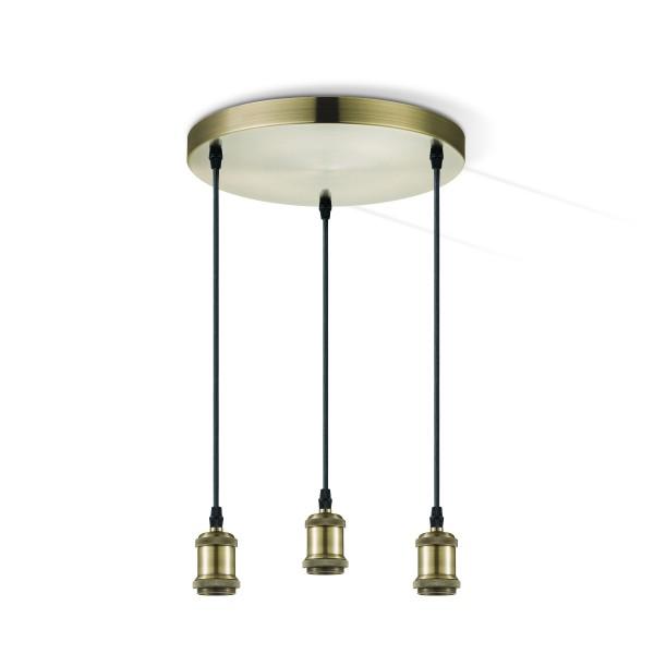 Pendelleuchte 3fach VINTAGE - 3 x E27 Fassung bronze - ideal für Filament Designleuchtmittel