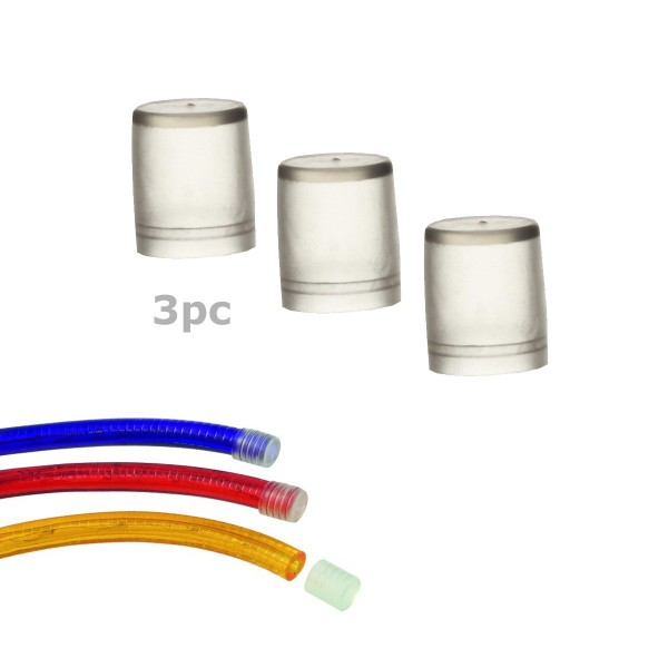 Endkappe für Lichtschlauch (12-13mm) - 3 Stück - transparenter Kunststoff - 1,5x1,8cm