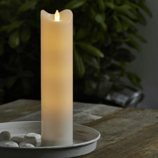 "LED Stumpenkerze ""Bianco"" - flackernde LED - H: 30cm - Batteriebetrieb - Timer - outdoor - weiß"