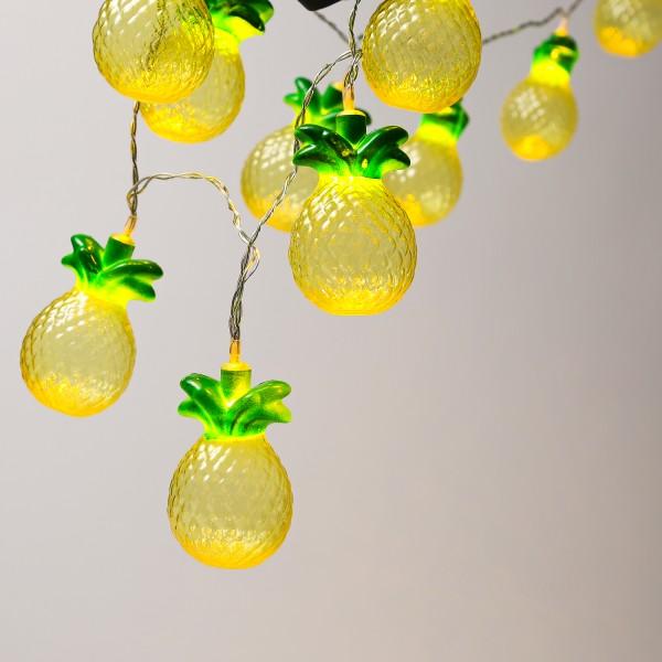 LED Lichterkette Ananas - 10 warmweiße LED - Batteriebetrieb - L: 1,35m - gelb/grün