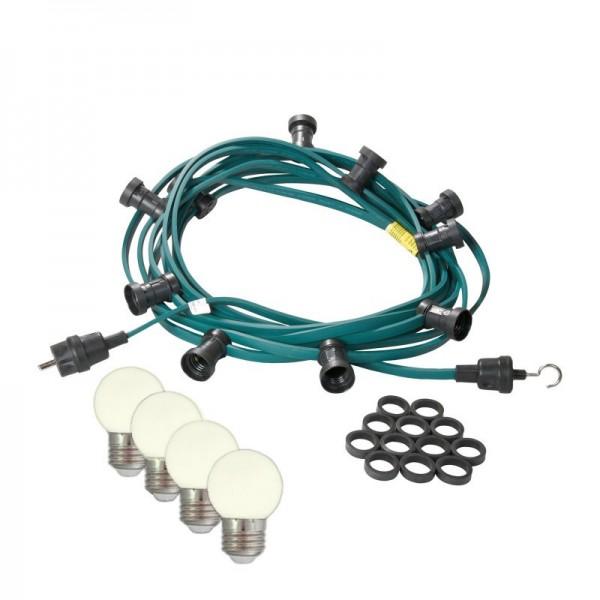 Illu-/Partylichterkette | E27-Fassungen | Made in Germany | mit weißen LED-Lampen | 10m | 10x E27-Fassungen
