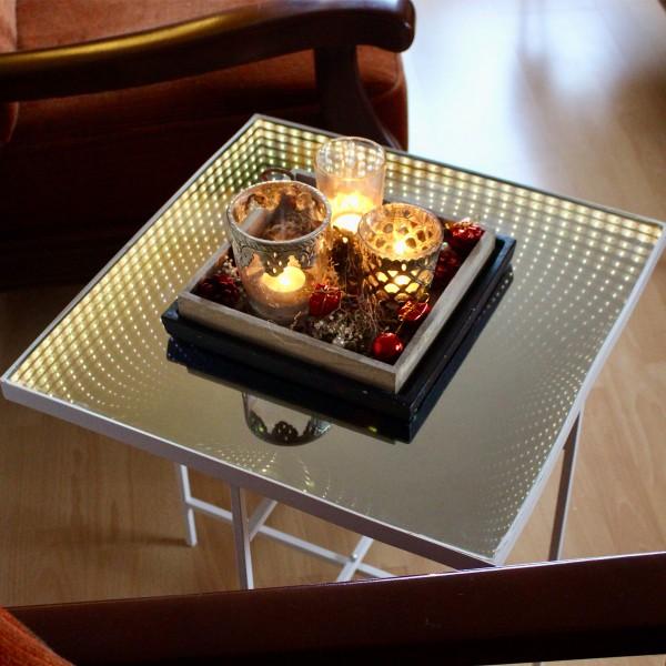 LED-Tisch WARP - Quadrat 47x50cm Endlos-Optik - Spiegeltisch mit LED - Batterie - Timer