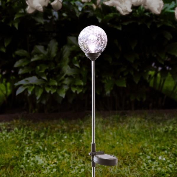 LED Solarkugel - Edelstahl - klares Glas - warmweiße LED - H: 68cm - D: 7,8cm - Dämmerungssensor