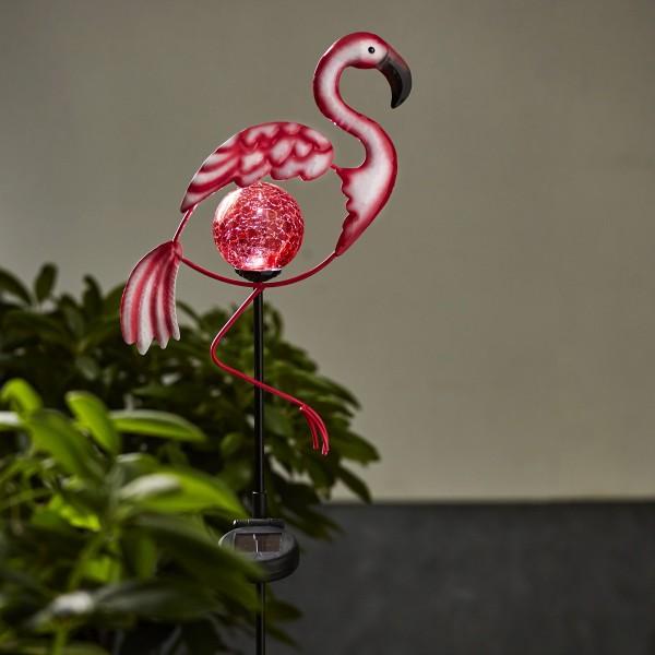 """LED Solarstab """"Flamingo""""- pink - rote LED in Glaskugel - H: 80cm - Dämmerungssensor"""