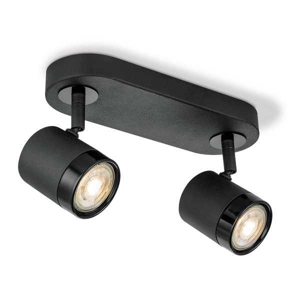 Deckenstrahler 2fach MANU schwarz - inkl. 2 LED Spots 3000K - 345 Lumen, dimmbar