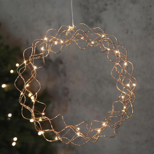 """LED-Kranz """"Curly"""" - 30 warmweiße LED - D: 30cm - Material: Metall - kupferfarben"""