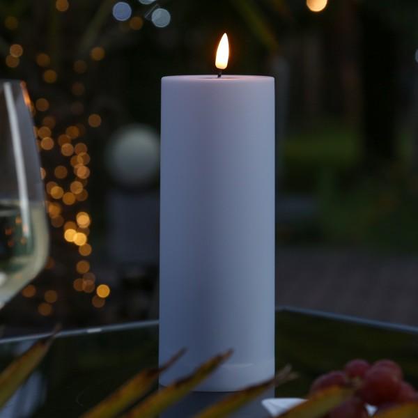LED Stumpenkerze MIA - Kunststoff - realistische 3D Flamme - H: 20cm - outdoor - pastellrot