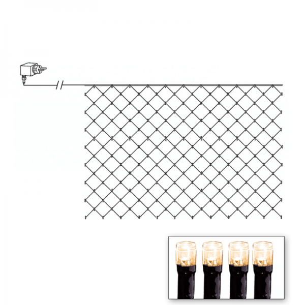 LED-Lichternetz | Serie LED | Outdoor | Schwarzes Kabel | 180 warmweiße LED | 3.00m x 3.00m