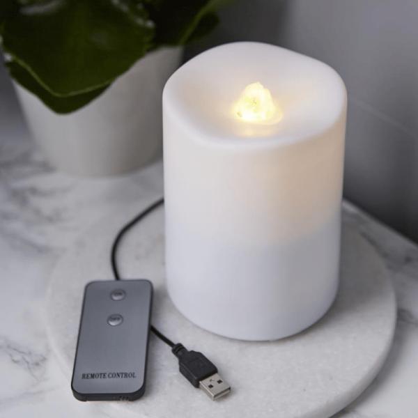 """LED Dekokerze/Brunnen """"Quelle des Feuers"""" - warmweiß - USB/Batterie - Timer - Zimmerbrunnen"""