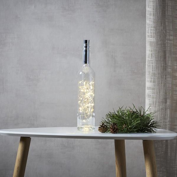 """LED Drahtlichterkette """"Korken"""" - Flaschenverschluss - 40 warmweiße LED - 2m - Timer - silber"""