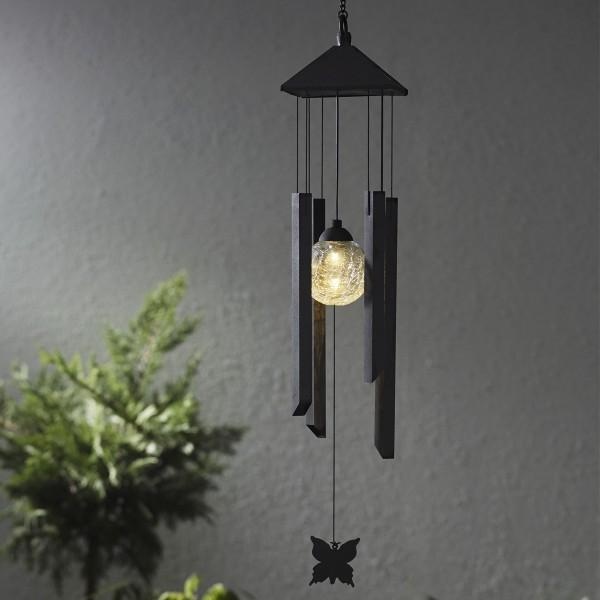 "LED Solar Windspiel ""Schmetterling"" - klare Kugel - warmweiße LED - Dämmerungssensor - outdoor"