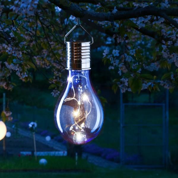 LED Solar Glühbirne GLOW - warmweiße LED Drahtlichterkette - H: 14cm - Lichtsensor - outdoor - blau