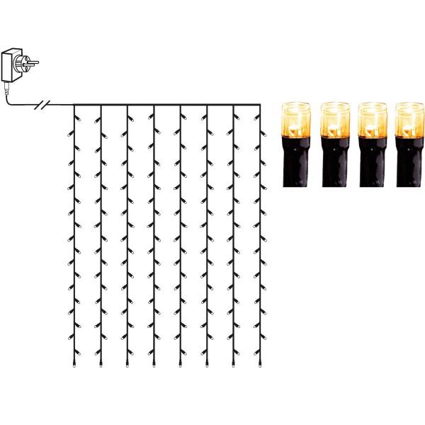 LED Lichtvorhang - Serie LED - outdoor - 120 ultra warmweiße LED - L: 1,3m, H: 2,0m - schwarzes Kabel