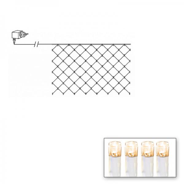 LED Lichternetz - Serie LED - outdoor - 180 warmweiße LED - 3.00m x 3.00m - transparentes Kabel