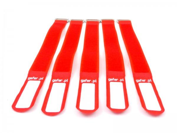 Kabelbinder Klettverschluss 25x550mm 5er Pack rot