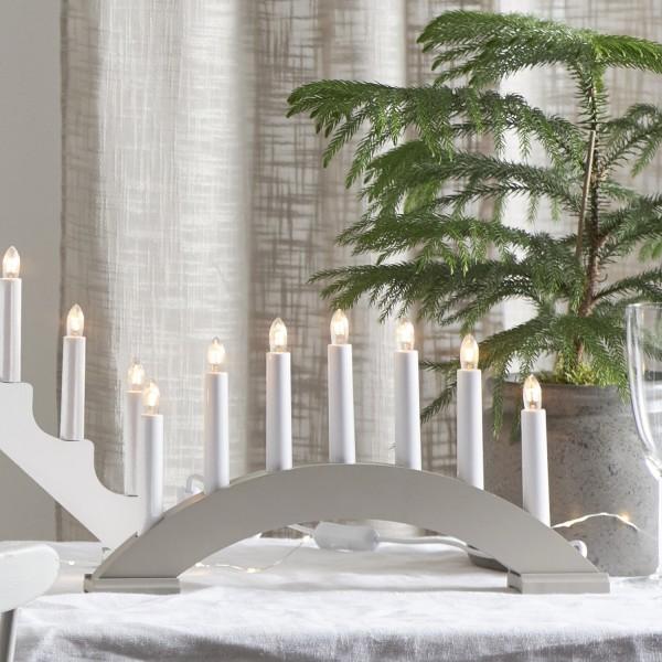 Lichterbogen Bea - 7flammig - warmweiße Birnchen - L: 39cm, H: 22cm - Schalter - grau