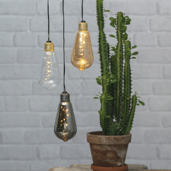 """LED Dekoleuchte """"Glow"""" - 5 warmweiße LED in dunkler Glühbirne - H: 13cm - D: 6cm - Batterie - Timer"""