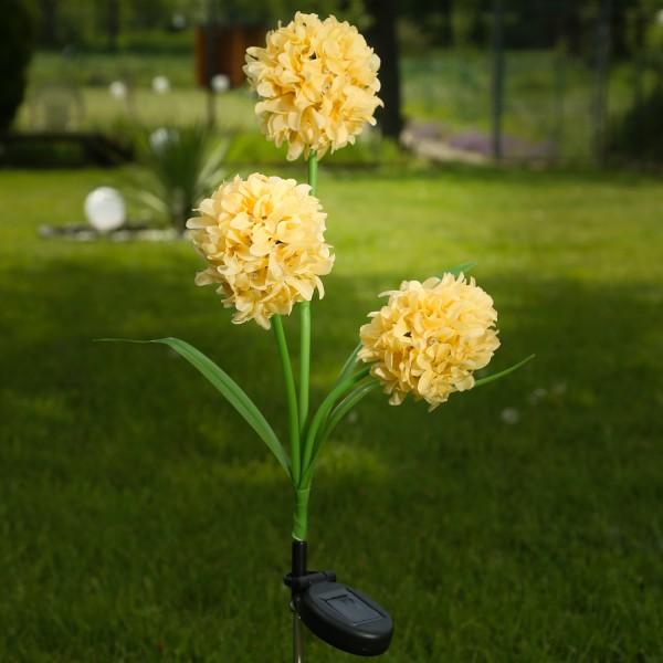 LED Solar Gartenstecker Blume - warmweiße LED - H: 70cm - Lichtsensor - gelb