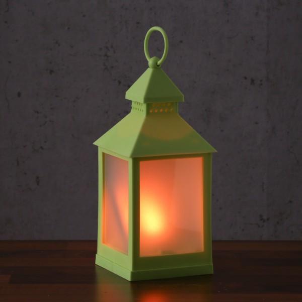 LED Laterne - mit Flammeneffekt - flackernde LED - H: 24cm - Batteriebetrieb - grün