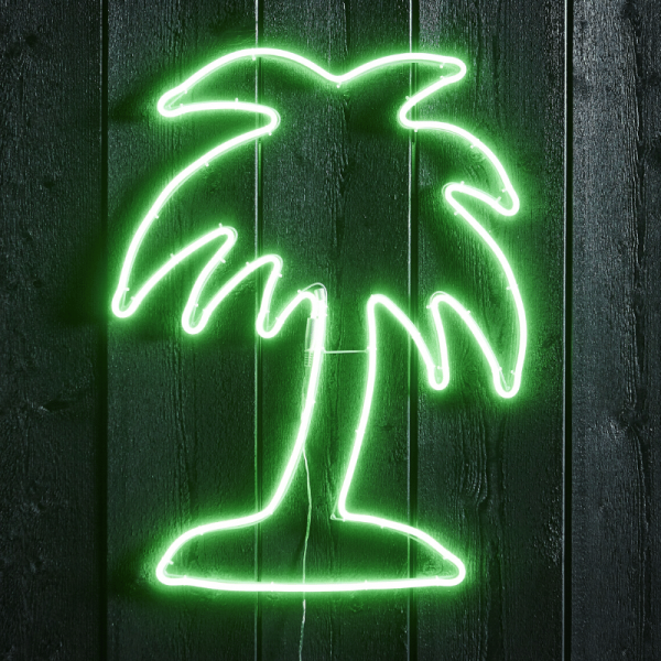 "LED Silhouette ""Palme"" - Flatneon - 384 LED - H: 65cm - outdoor - grün"
