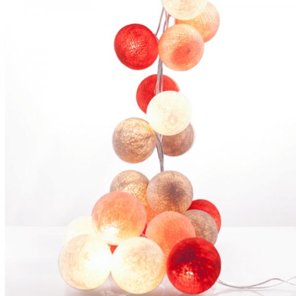 good moods* ROSIGE ZEITEN - Ball-Lichterkette mit 20 Stoffkugeln - 20 warmweiße LEDs -Geschenkkarton