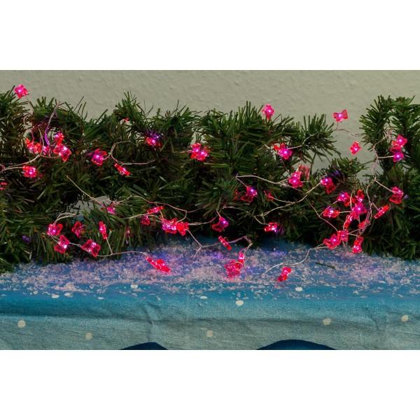 "LED Drahtlichterkette ""Dew Drop"" pinke Schmetterlinge - 72 warmweiße LED - L: 2m - Batterie - Timer"