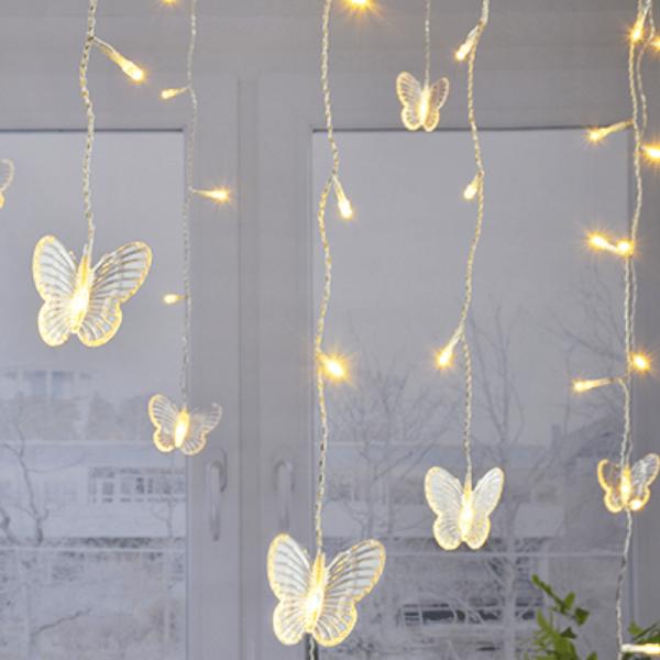 Lichtervorhang Schmetterling - 70 warmweiße LEDs - Batteriebetrieb