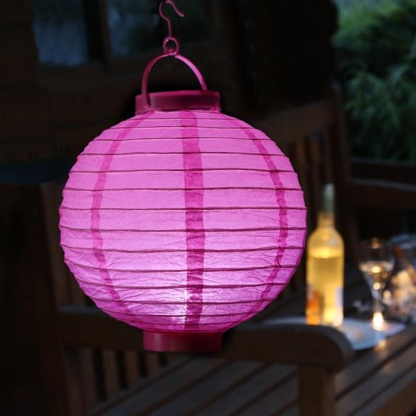 LED Lampion FESTIVAL - kaltweiße LED - D: 20cm - Montagehaken - pink