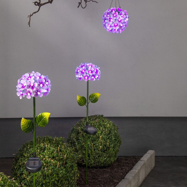 "LED Solarstab ""Hortensie"" - pink - 27 kaltweiße LED - H: 77cm, D: 16cm - Dämmerungssensor"