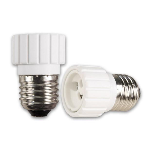 Lampensockel Adapter für Leuchtmittel - Porzellan - max 100W - E27 auf GU10