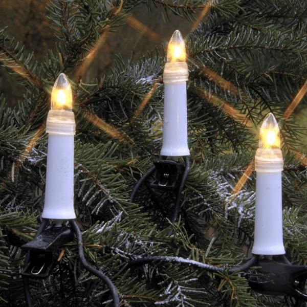 LED Kerzenkette - 16 warmweiße Kerzen - Outdoor - Strang - E10 Fassung - H: 11,5cm, L: 10,5m - weiß