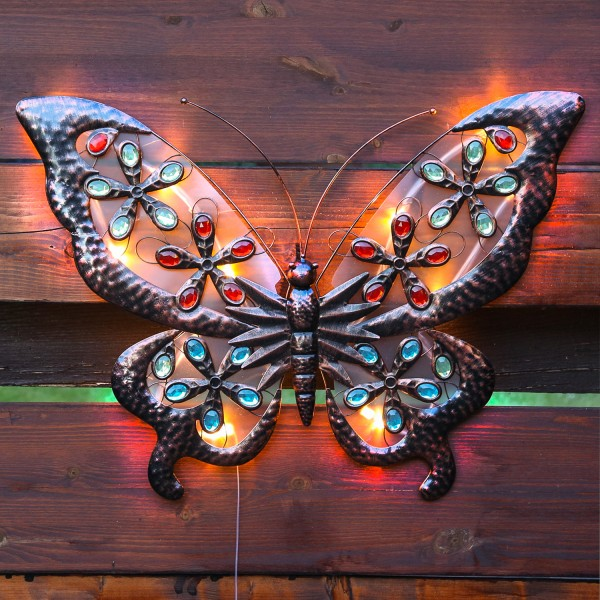 LED Solar Wanddeko Schmetterling - 12 warmweiße LED - H: 66cm - Dämmerungssensor - 2 Funktionen