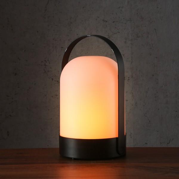 LED Laterne FLAMME - warmweißes Licht - Flammeneffekt - H: 23cm - Batterie - Timer - Indoor