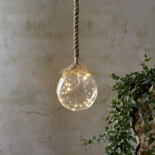 "LED Glaskugel ""Jutta"" - mit Juteseil - 15 warmweiße LED am Draht - L: 200cm - D: 15cm - klar"