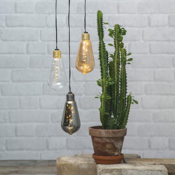 LED Dekoleuchte Glow - 5 warmweiße LED in amber Glühbirne - H: 13cm - D: 6cm - Batterie - Timer