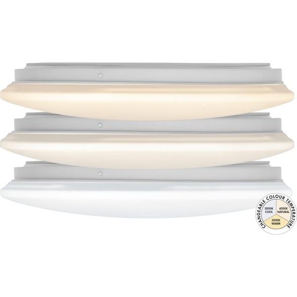 LED Deckenleuchte INTERGRA - D: 33cm - 15W - 36 kalt/-warmweiße LED - 3000-5000K - 1470lm - weiß