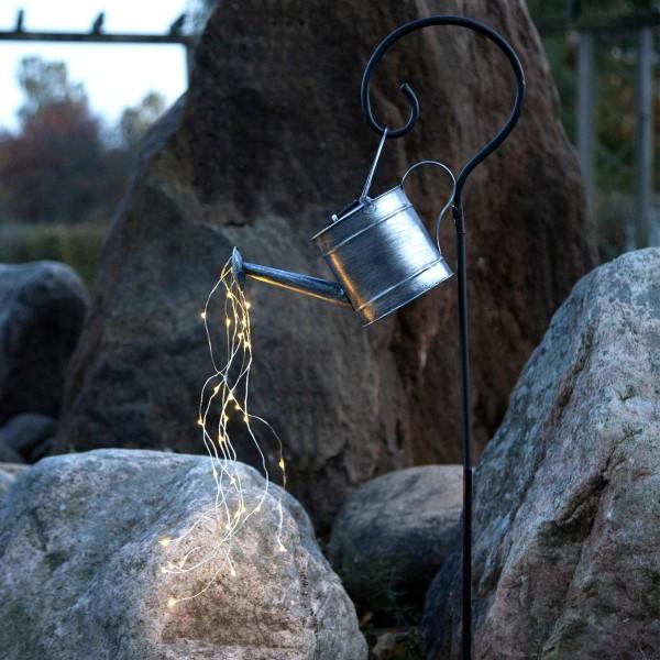 LED Solar Lichtgießkanne zink - 28 warmweiße LED - H: 80cm - Dämmerungssensor - outdoor