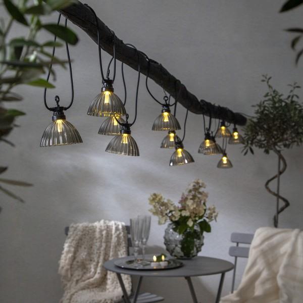 """LED Lichterkette """"Lampenschirm"""" - 12 warmweiße LED - L: 4,95m - outdoor - rauchgrau"""