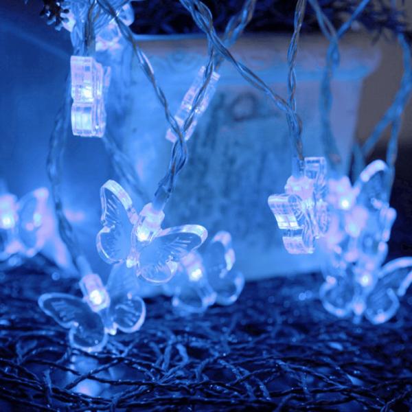 LED Lichterkette Schmetterling - 15 blaue LED - Batteriebetrieb - Timer - 2,8m - transparent