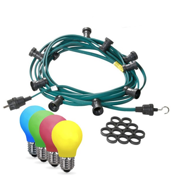 Illu-/Partylichterkette 10m | Außenlichterkette | Made in Germany | 30 x bunte LED Tropfenlampe