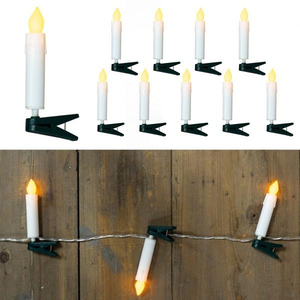 LED Lichterkette, 10 Miniatur Baumkerzen mit Clip - Batteriebetrieb - warmweißes Licht
