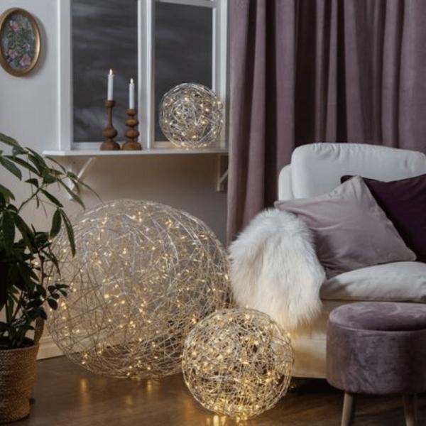 LED 3D Designkugel - D: 37,5cm - 100 warmweiße LED - Indoor & Outdoor - aus Silberdraht