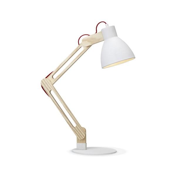 Schreibtischlampe WOOD weiß/holz - 70cm - E27 - Nachttischlampe