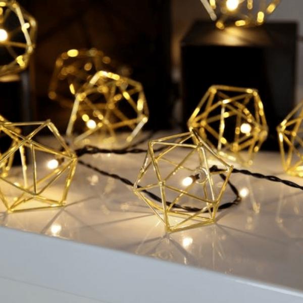 "LED-Lichterkette ""Edge"" - 10 warmweiße LED - 2,25m - schwarzes Kabel - Trafo - gold"
