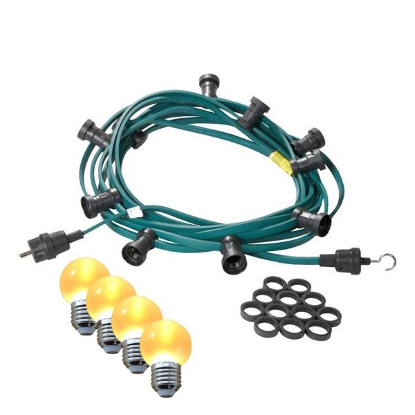 Illu-/Partylichterkette 5m | Außenlichterkette | Made in Germany | 5 x ultra-warmweisse LED Kugeln