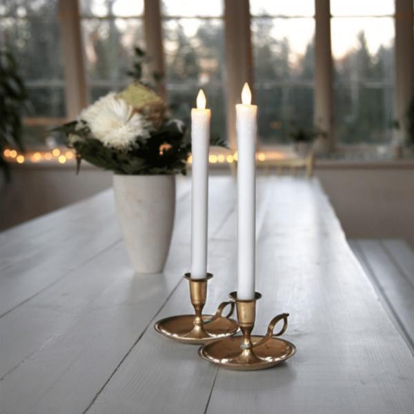"""LED Stabkerze """"Presse"""" -  Echtwachs - flackernde warmweiße LED - H: 25cm - weiß - 2er Set"""
